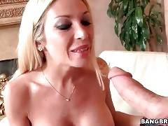 Sexy blonde wraps her full lips around partner`s thick dick.