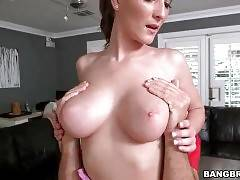 Lovely brunette Molly Jane owns great big natural tits.