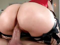 Big bottomed Tori Avano is jumping on Christian`s thick cock.